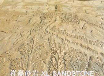 米黄砂山水雕刻